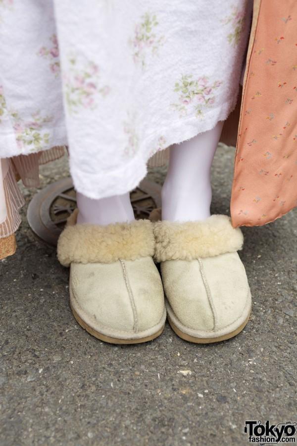 Ugg fleeced slippers in Harajuku