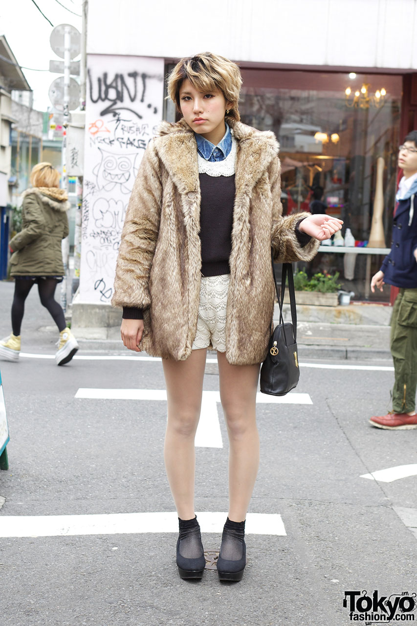harajuku girl�s lace remake shorts amp nomine fur jacket