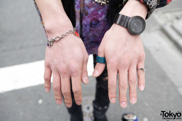 Large watch, bracelet & rings in Harajuku