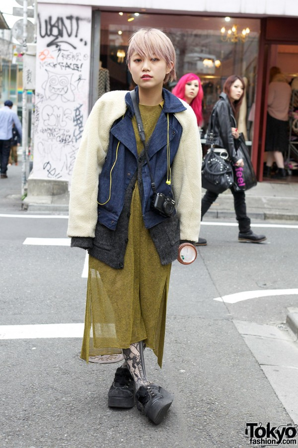 Toga Maxi Dress, Remade Denim Jacket & OTOE Platform Sneakers