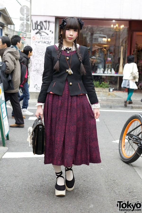 Vintage-Loving Harajuku Girl w/ Braids, Long Dress & Platforms