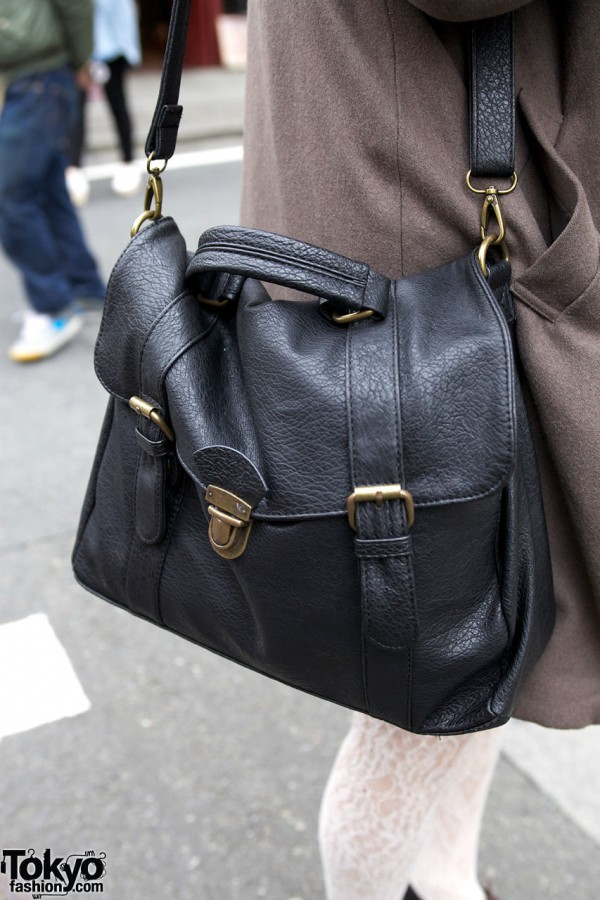 Black leather purse from used clothing store