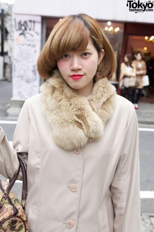 Used jacket w/ fur collar in Harajuku
