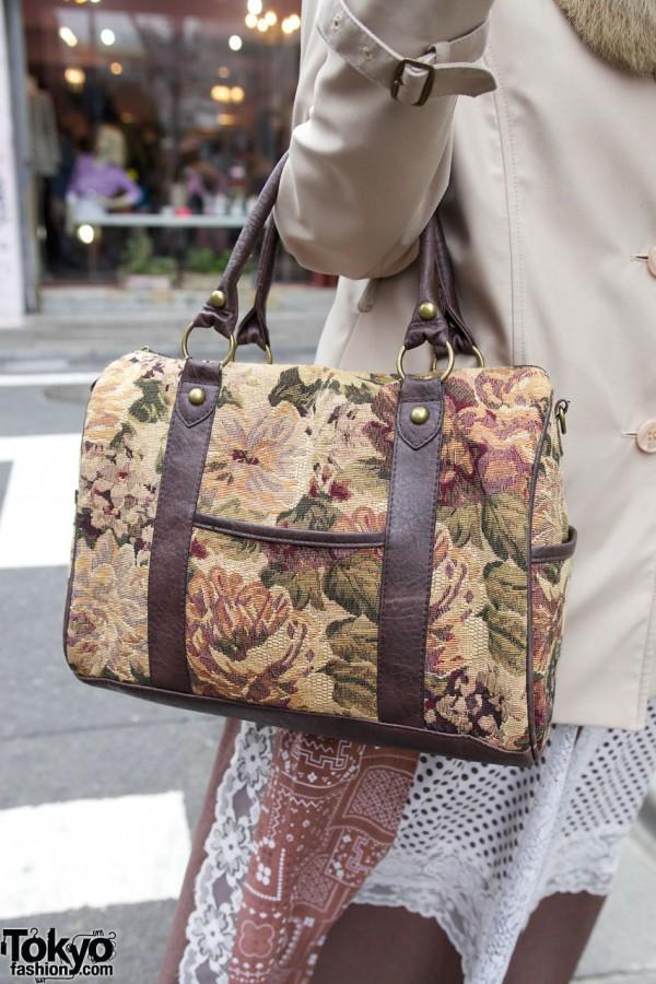 Vintage tapestry handbag in Harajuku