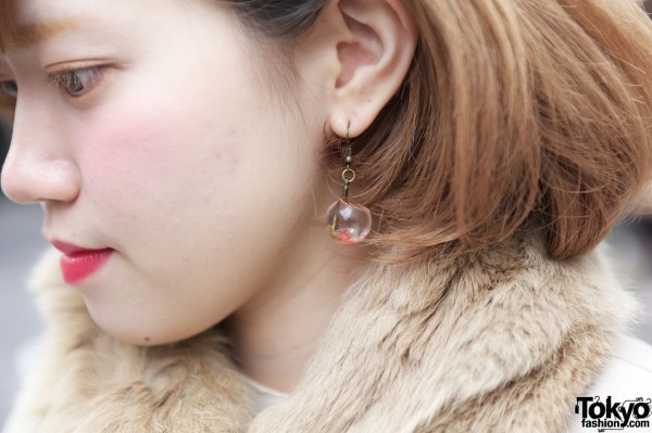 Globe earring in Harajuku