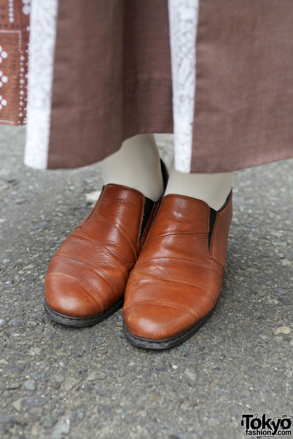 Leather slip-on shoes in Harajuku