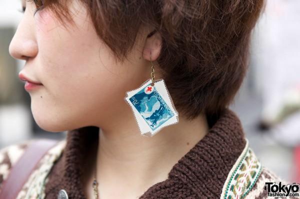 Postage stamp earring in Harajuku