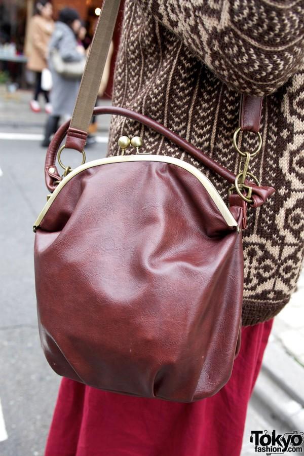 Burgundy leather purse in Harajuku