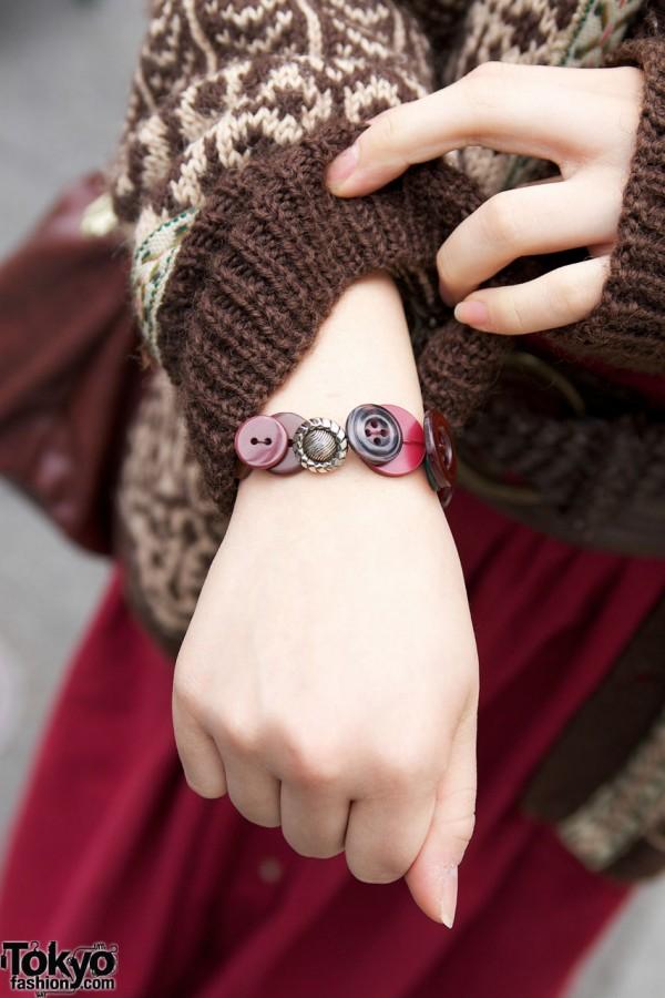 Cute as a button bracelet in Harajuku