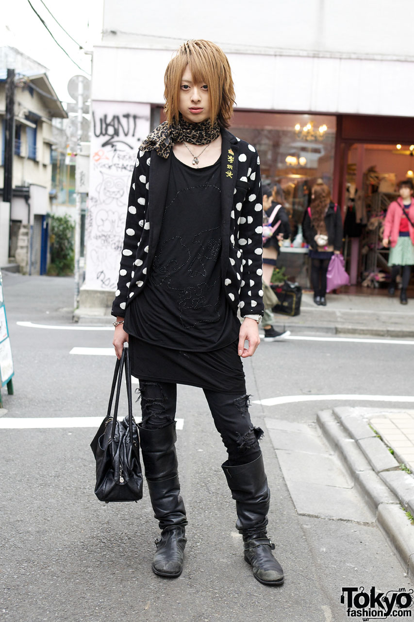 Japanese Host Wearing Polka Dots Skulls Amp Tall Boots In