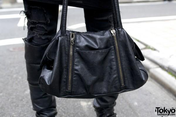 Black Leather Men's Handbag
