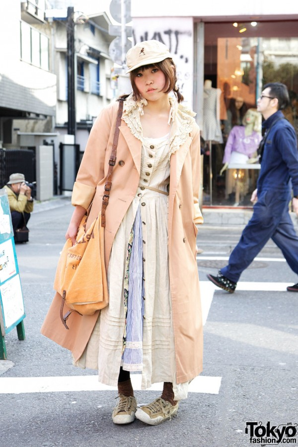 Harajuku Girl's Vintage Maxi Coat, Muslin Dress & Kangol Cap