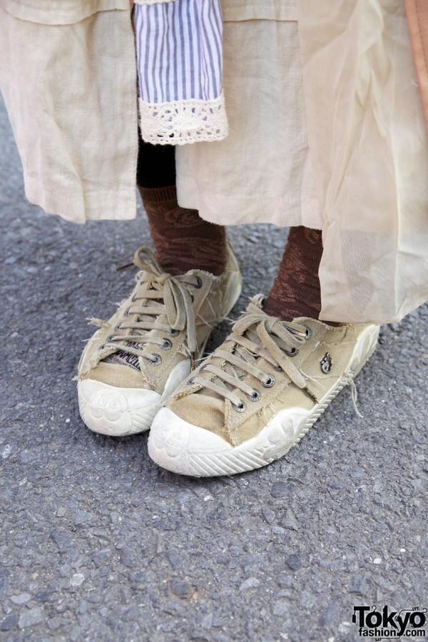 Distressed sneakers & maxi coat in Harajuku