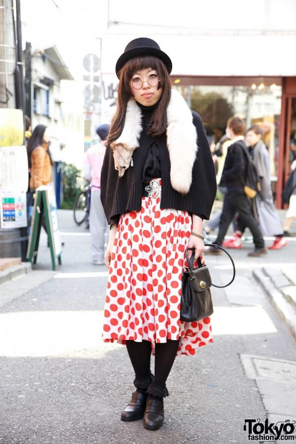 Hakui Vintage Style w/ Polka Dot Skirt & Round Glasses in Harajuku