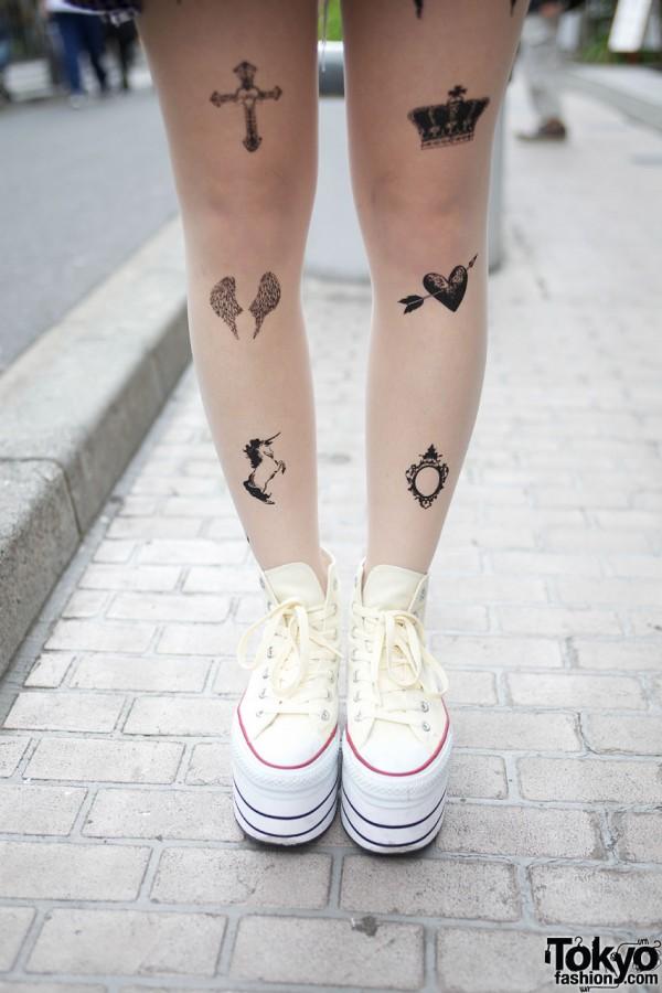 Tattoo Tights & Platform Converse
