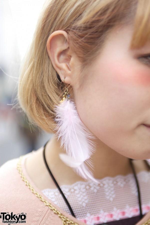 Feather earring in Harajuku