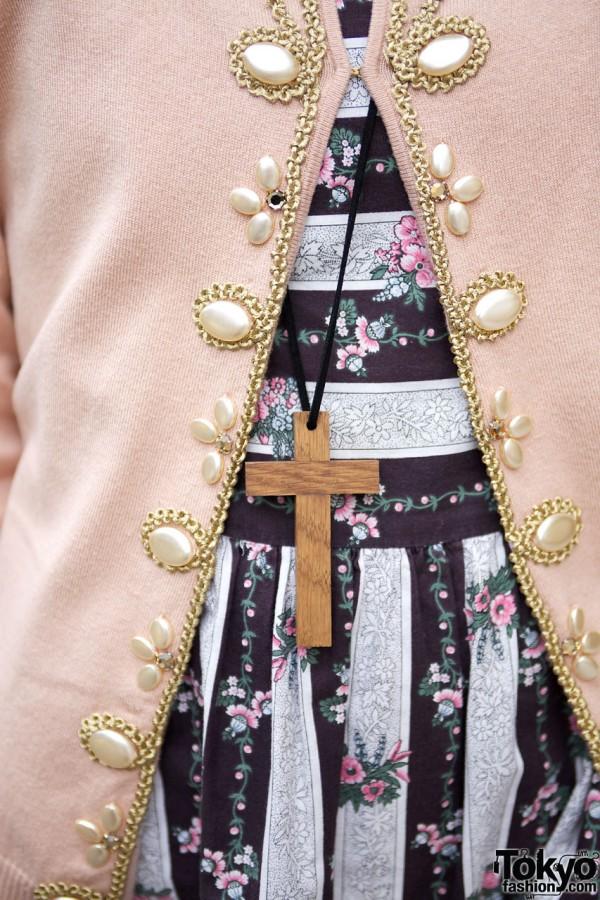 Striped chintz dress & wooden cross