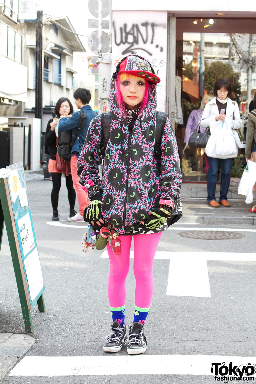 Harajuku Girl in Galaxxxy Hoodie & Pink Tights