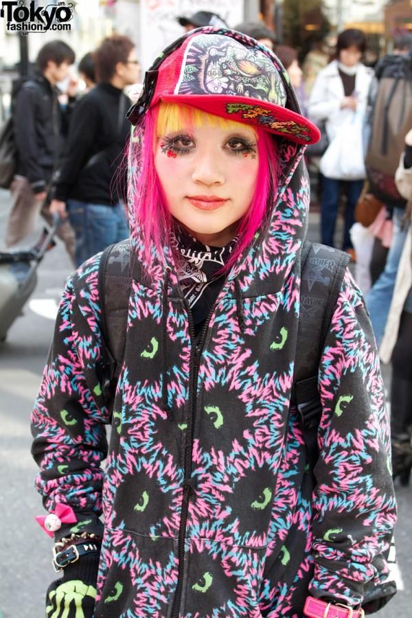 Galaxxxy Hoodie & Pink Hair in Harajuku