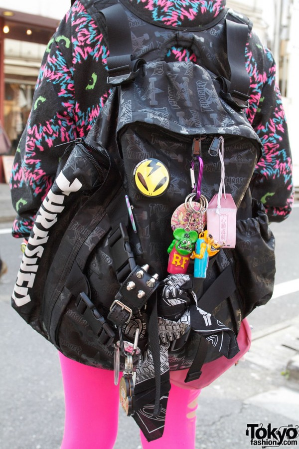 Thrasher Backpack With Rat Fink Charm