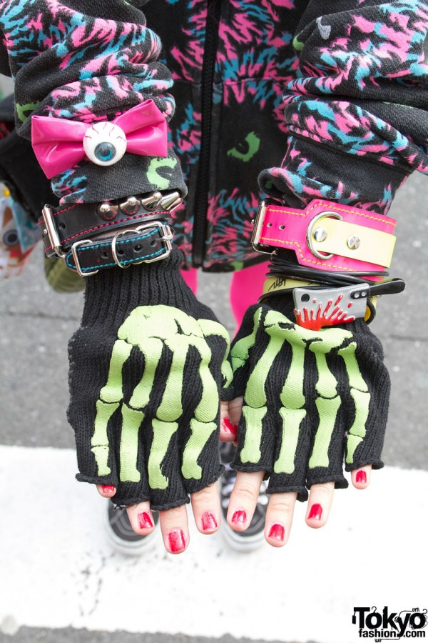 Eyeball, Studded Bracelets & Skeleton Gloves