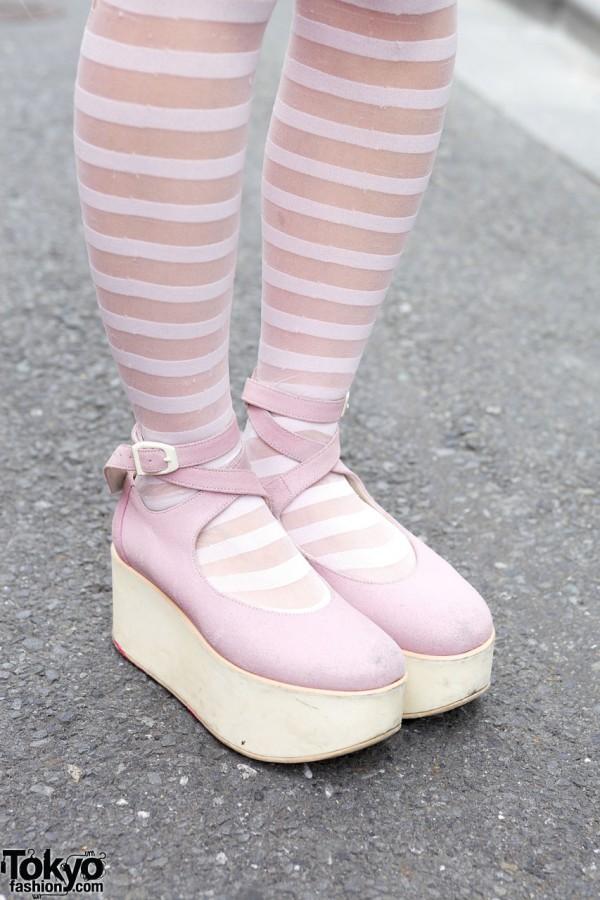 Striped Tights & Pink Tokyo Bopper Platforms