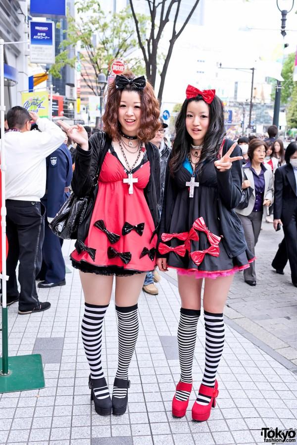 Shibuya Girls' Cute Pair Look w/ TutuHa, Bows & Striped Socks