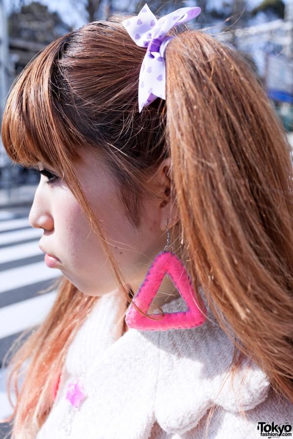 Fuzzy Pink Triangle Earrings in Harajuku