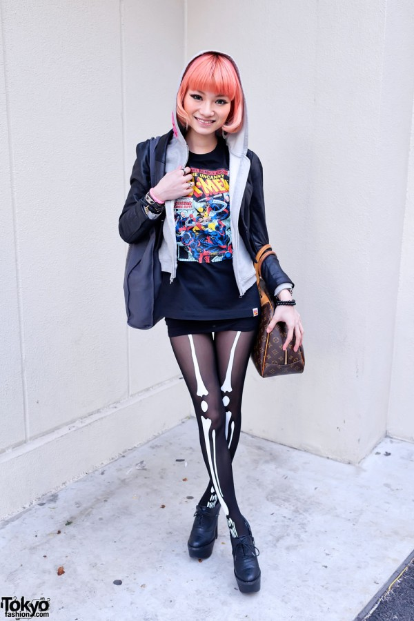 X-Men T-Shirt & Skeleton Tights in Harajuku