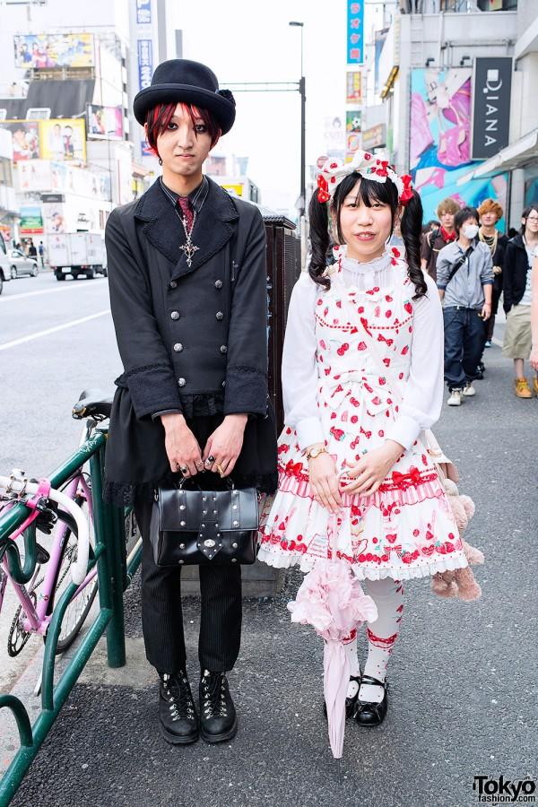 Gothic Guy w/ Red Hair & Angelic Pretty Lolita in Harajuku
