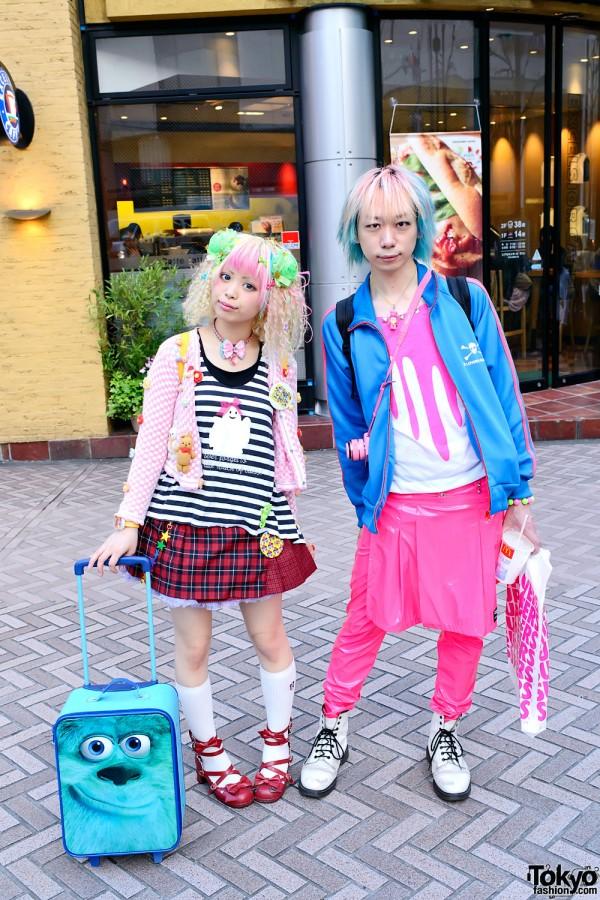 Kurebayashi & Junnyan's Colorful Street Style in Shibuya