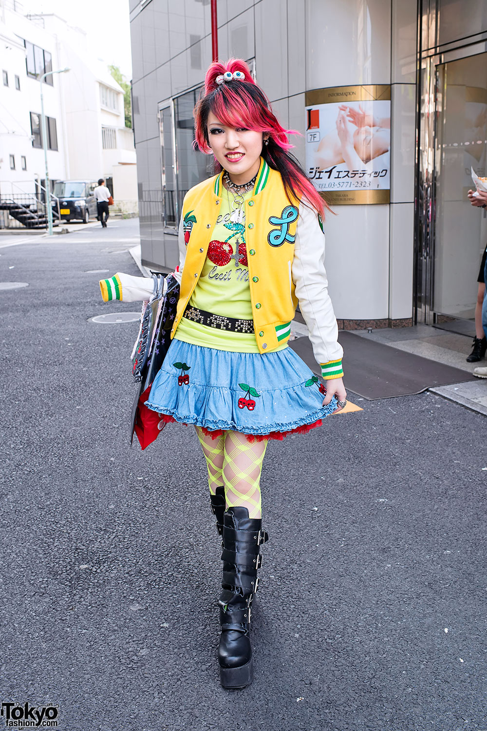 Lisa 39 S Pink Hair Cherry Skull Skirt Buckle Boots In Harajuku