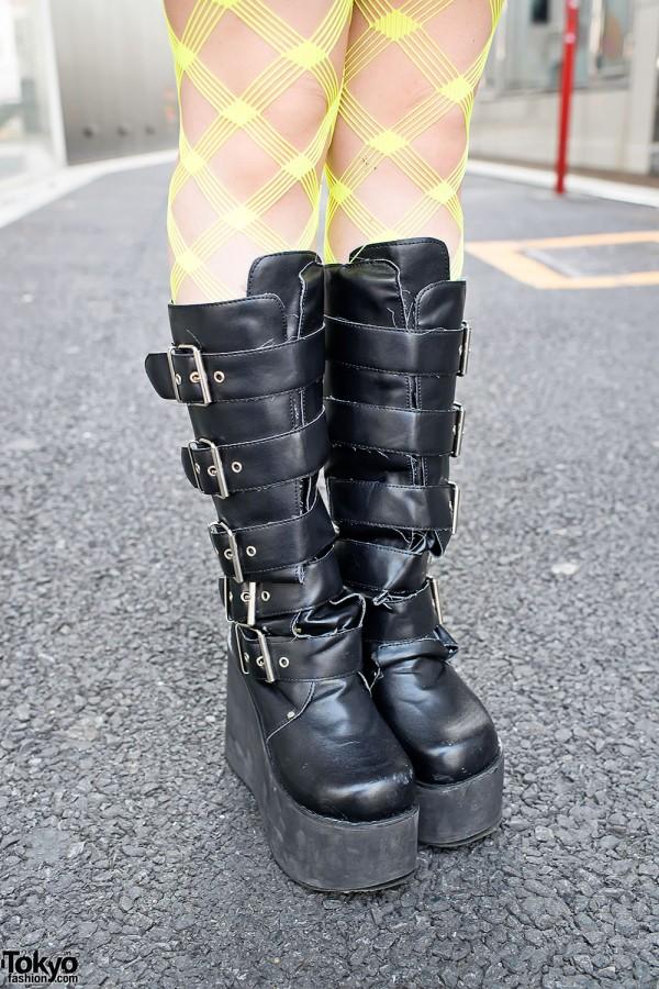 Platform Buckle Boots in Harajuku