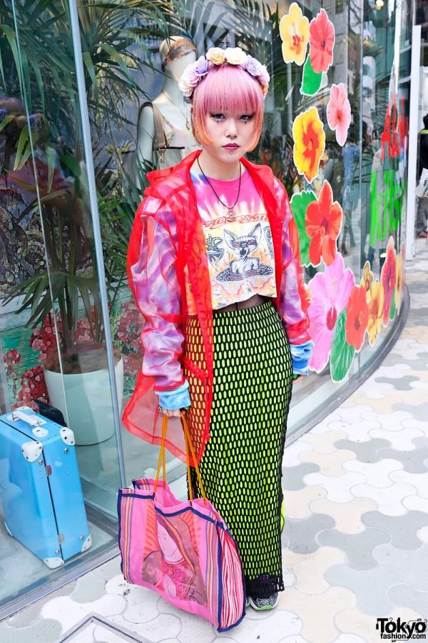 Marina in Harajuku w/ Body Piercings, Colorful Fashion & Pink Hair
