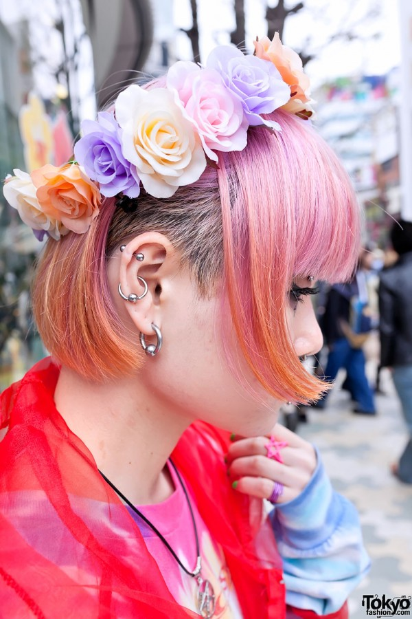 Piercings & Pink Hair in Harajuku