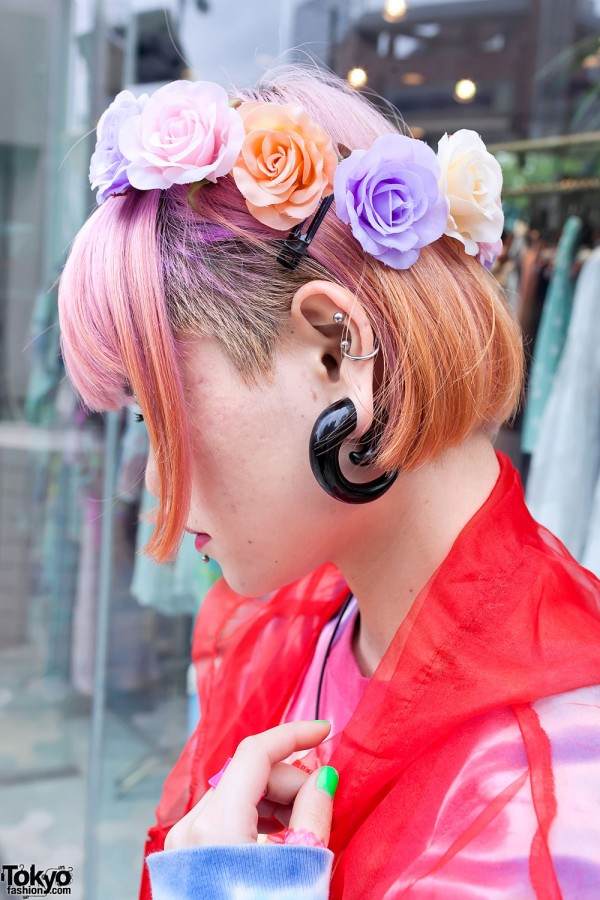 Ear Gauging, Pink Hair & Flowers in Harajuku