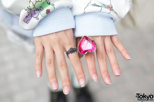 6%DokiDoki bat ring & large heart ring