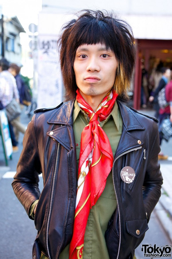 Jimsinn leather jacket, red scarf & resale khaki shirt