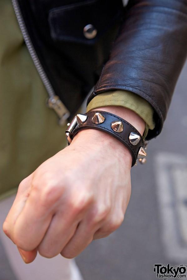 Harajuku guy's studded leather wristband