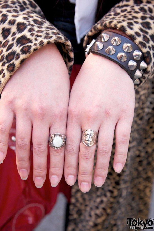 Studded leather wristband & Buddha ring