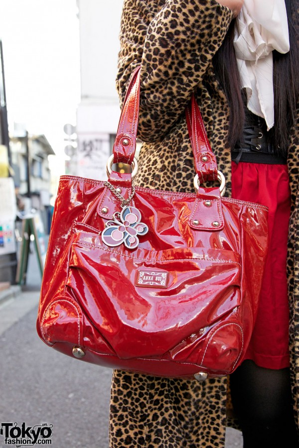 Anna Suit red vinyl handbag in Harajuku