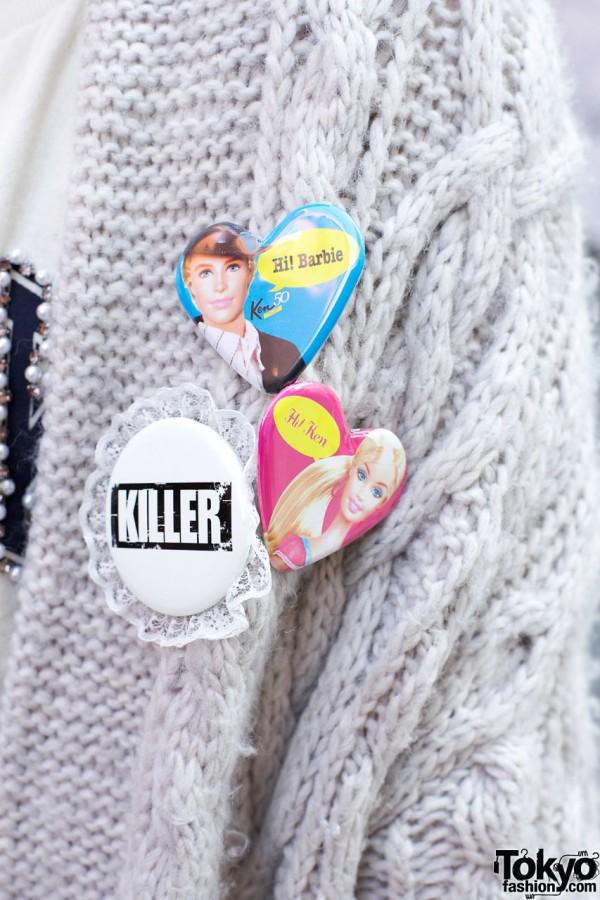Killer badge & Barbie buttons in Harajuku