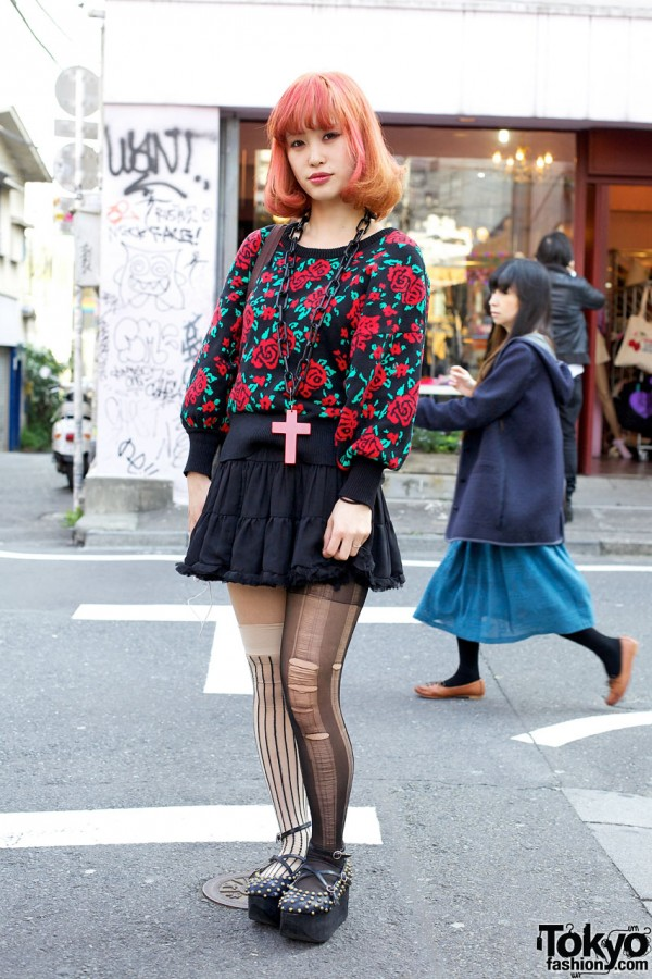 Rose Sweater & Ripped Stockings