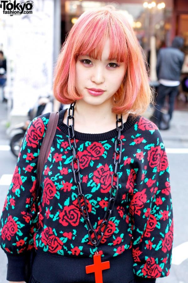 Pink Hair & Rose Sweater in Harajuku