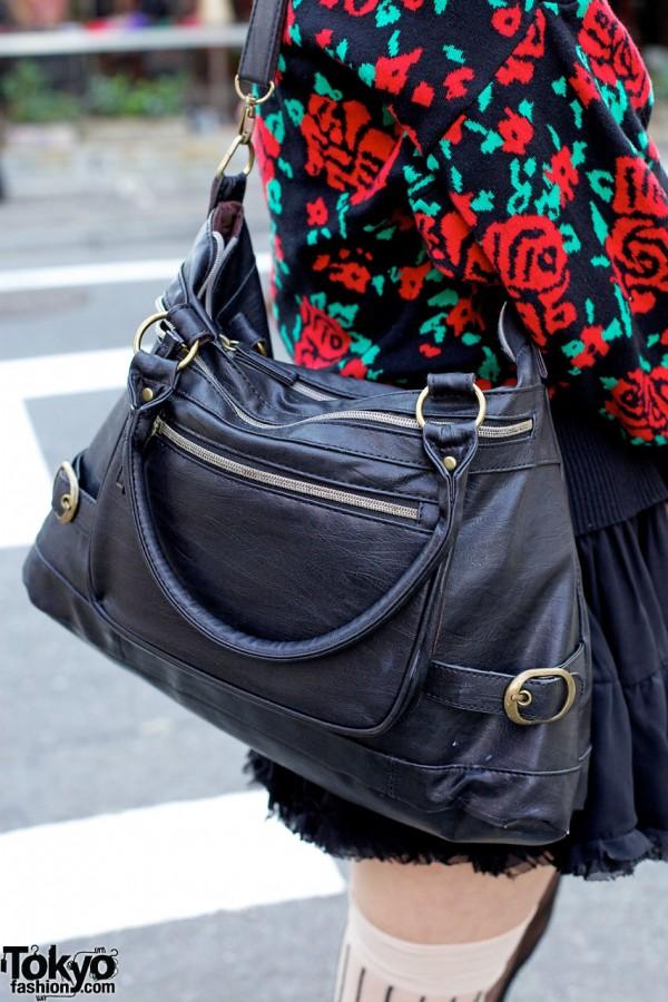 Black Leather Purse in Harajuku
