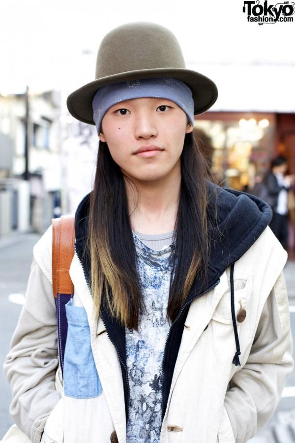 Felt hat, blue bandana & Cosmic Wonder vest