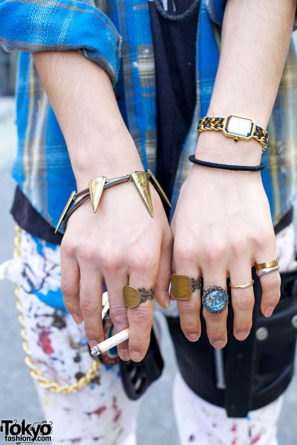 Spike bracelet, rings & vintage wrist watch