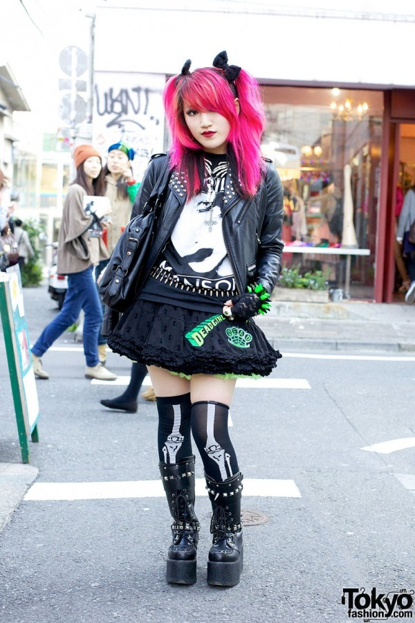 Studded Jacket, Kreepsville 666 Skirt & Punk Platform Boots in Harajuku