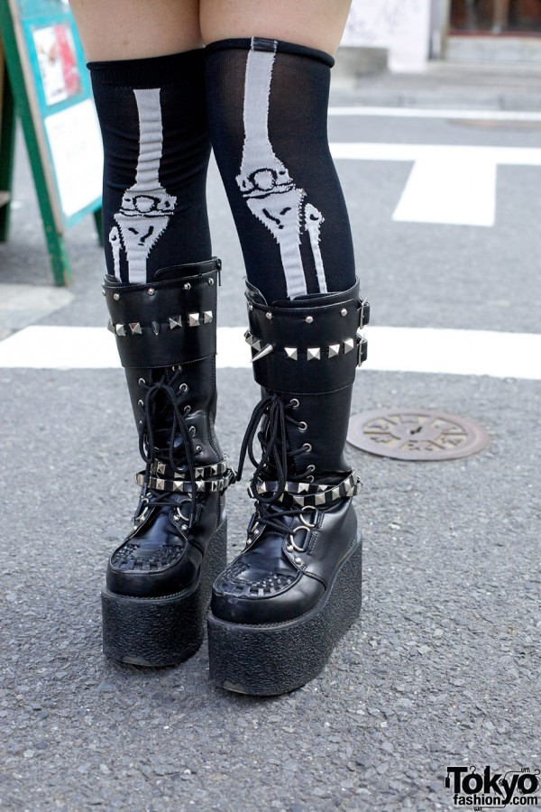 Skeleton Socks & Punk Platform Boots