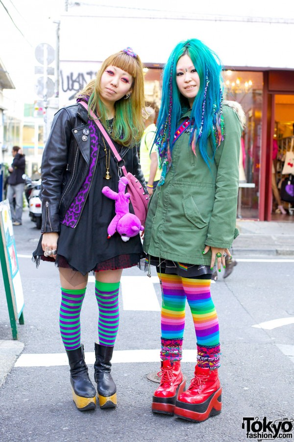 Striped Thigh Highs & Vivienne Westwood Boots vs. Rainbow Tights & An-ten-na Boots